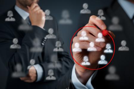 network marketing: Segmentaci�n de marketing, p�blico objetivo, los clientes se preocupan, gesti�n de relaciones con clientes (CRM) y la formaci�n de equipos conceptos.
