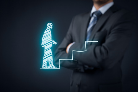 Personal development, personal and career growth, success, progress, and potential concepts. Coach (human resources officer, supervisor) supervise employee growth. Stock Photo