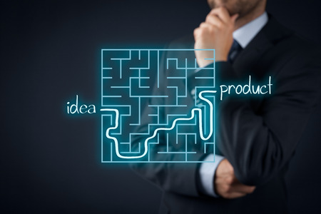 finalized: Long and difficult way from business idea to successful product. Marketing product specialist plan new product. Stock Photo