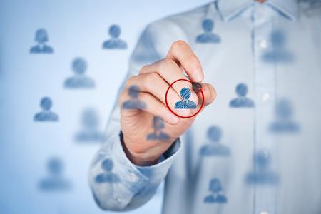 relation clients: Segmentation marketing et de ciblage, la personnalisation, les soins � la client�le individuelle (de service), la gestion de la relation client (CRM) et les concepts de leader. Banque d'images