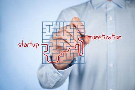 laberinto: Camino largo y dif�cil desde el inicio de negocios para la monetizaci�n �xito. Estrategia de puesta en marcha del plan de negocios y su crecimiento y monetizaci�n. Foto de archivo