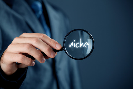Marketing specialist looking for market niche (concept). Stock Photo