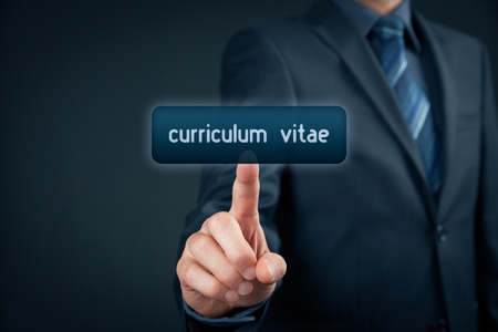 looking for a job: Curriculum vitae saved on internet. Human resources officer click on virtual curriculum vitae button.