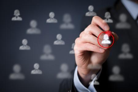 gerente: La discriminación positiva de género, la segmentación del marketing y la focalización, la personalización, la atención al cliente femenino individual (servicio), gestión de relaciones con clientes (CRM) y los conceptos de líder. Foto de archivo
