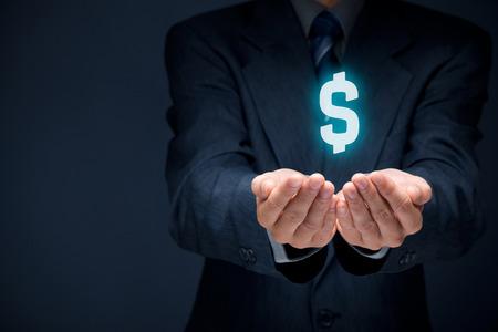 dollaro: Proteggere le finanze aziendali e ottimizzazione fiscale, societ� di investimento, rappresentata dal simbolo del dollaro.