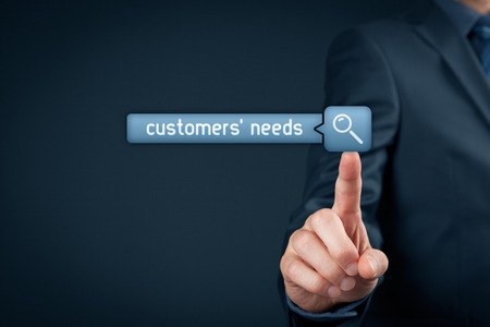 needs: Customers needs concept. Marketing specialist search customer needs, click on virtual button with magnifying glass.