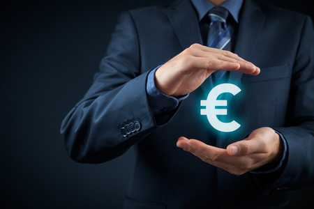 Protect company finances and tax optimization, company investment, represented by euro symbol. Banco de Imagens