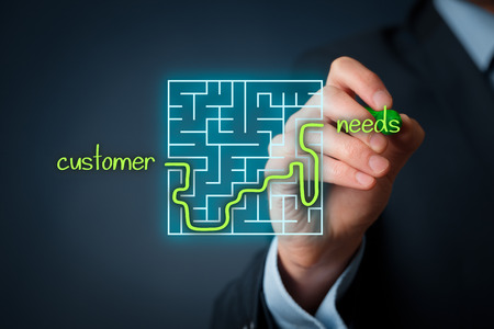 Behoeften van de klant analyse concept. Zakenman analyseren van de behoeften van klanten. Stockfoto