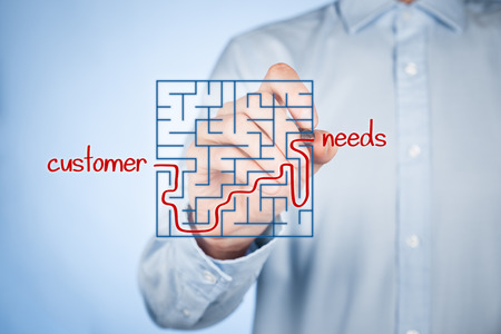needs: Customer needs analysis concept. Businessman analyze customers needs.