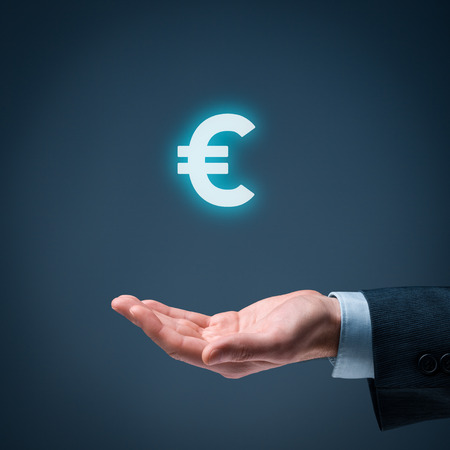 global currencies: Businessman offer Euro represented by euro sign.