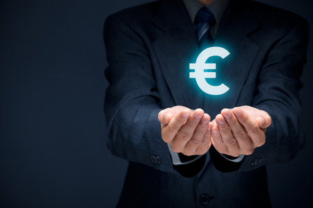 cashflow: Businessman offer Euro represented by euro sign.