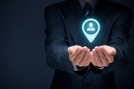 Target customer concept. Man hold target customer in hands.