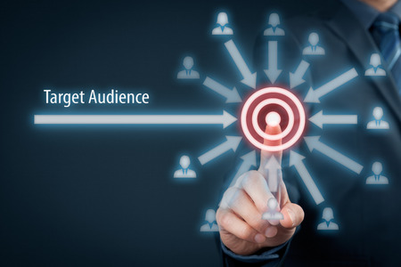 Target audience concept. Businessman click on target, audience pointing to target is around target.