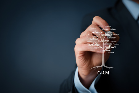 customer relationship: CRM and customers concept. CRM is a root of a tree in relationships with customers.
