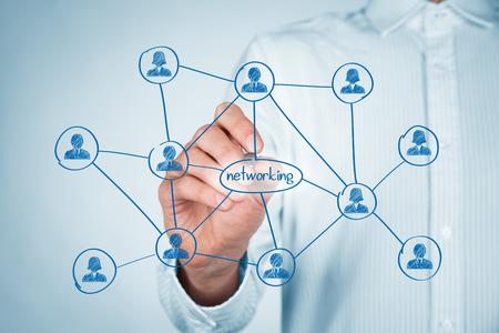 boceto: Concepto de red profesional. Empresario esquema de red empate