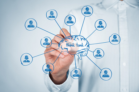 tanks: Think tank team concept. Think about human resources or customers. Brain and personnel (team) of think tank organization. Stock Photo