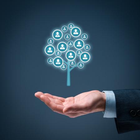 Customer care, zorg voor medewerkers, human resources, levensverzekeringen, uitzendbureau en marketing segmentatie concepten.