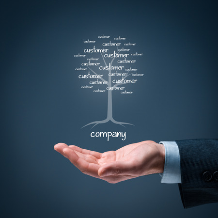 company: Company and customers metaphor. Company as a root of tree and customers as leaves of tree.