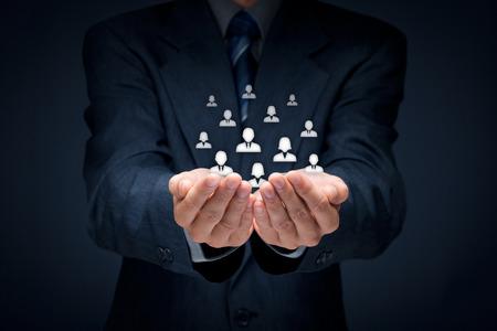 vida social: La atenci�n al cliente, la atenci�n de los empleados, recursos humanos, seguros de vida, bolsa de trabajo y los conceptos de segmentaci�n de marketing. Composici�n Central.