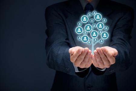 顧客ケア、従業員、人事、生命保険、雇用の代理店およびマーケティングの分割概念のケア。