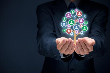 La atención al cliente, la atención de los empleados, recursos humanos, seguros de vida, bolsa de trabajo y los conceptos de segmentación de marketing. Foto de archivo - 38917708