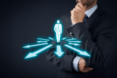 decision  making: Decision making (management decisions) - select the best business perspective (direction) to future. Stock Photo