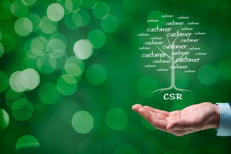 apoyo social: Concepto de la responsabilidad social corporativa (RSC). Conciencia corporativa, ciudadanía corporativa y empresarial responsable sostenible. Foto de archivo