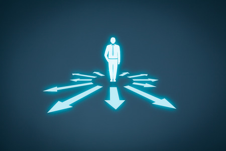 manage: Decision making (management decisions) - select the best business perspective (direction) to future. Stock Photo