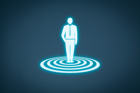 Target customer (marketing) concept. Customer represented by virtual icon of man standing on target.