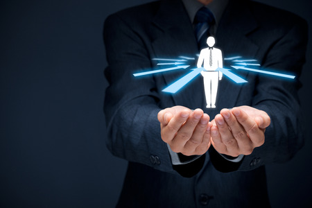egoistic: Human resources officer choose employee or team leader (CEO). Individual customer marketing and personalization concept. Stock Photo