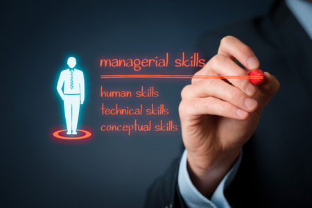 managerial: Managerial skills (human skills, technical skills, conceptual skills) concept - businessman write managerial skills on virtual board.