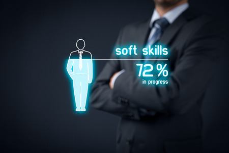talent management: Soft skills training in progress. Visual metaphor - manager improve his soft skills.