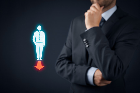 to think about: Businessman think about company (or personal) direction. Stock Photo