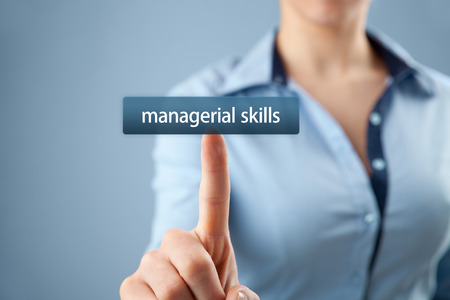 managerial: Managerial skills (human skills, technical skills, conceptual skills) training concept - woman click on button to purchase managerial skills course. Stock Photo