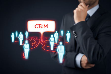 represented: CRM (customer relationship management) and customers represented by icons.