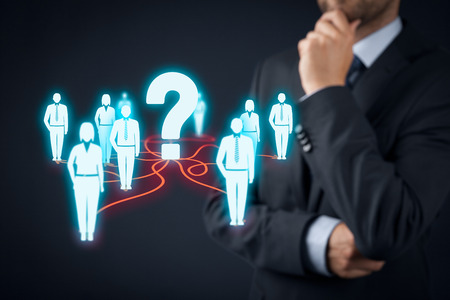 customer care: Human resources officer think about employees. FAQ and customer care concept.