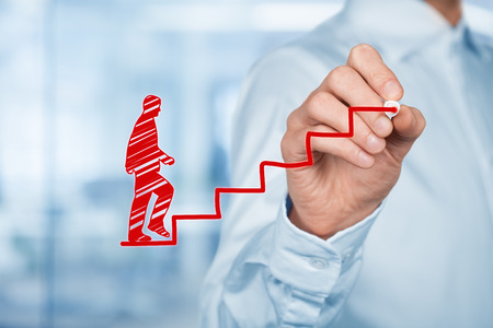 Personal development, personal and career growth, success, progress and potential concepts. Coach (human resources officer, supervisor) help employee with his growth symbolized by stairs. Stockfoto