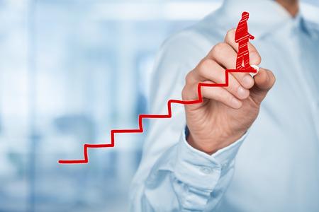 Persoonlijke ontwikkeling, persoonlijke en carrière eindigde groei, succes, vooruitgang, motivatie en potentiële concepten. Coach (human resources officer, supervisor) helpt werknemer met zijn groei.