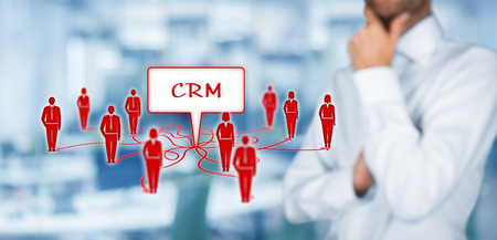 customer care: CRM (customer relationship management) and customers represented by icons.