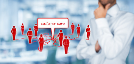 to think about: Customer care concept. Manager think about customer care and relationships with customers.