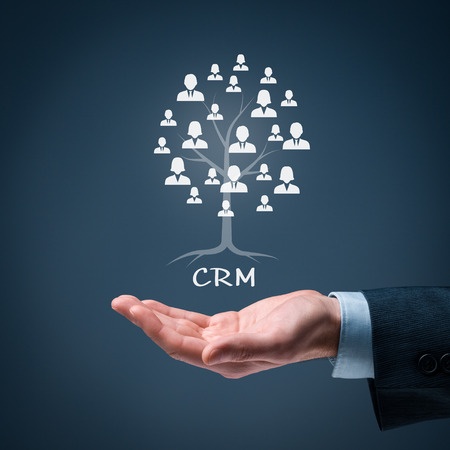 crm: CRM and customers concept. CRM is a root of a tree in relationships with customers. Customers represented by icons.