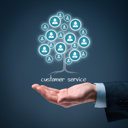 customer relationship: Customer service concept. Customer service is a root of a tree in relationships with customers. Customers represented by icons.
