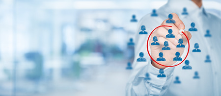 segmentation: Marketing segmentation, target audience, customers care, customer relationship management (CRM), customer analysis and focus group concepts with wide composition. Stock Photo