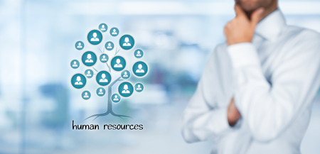 Human resources (HR) concept. Human resources is a root of a tree in relationships with customers. Customers represented by icons.
