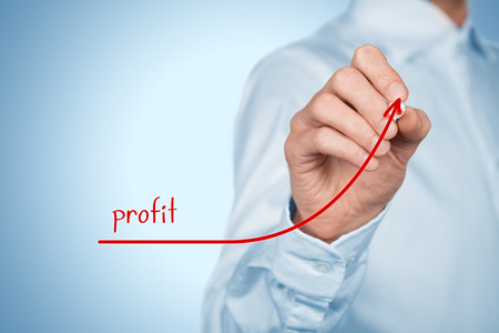 represented: Increase profit concept. Businessman plan (predict) profit growth represented by graph. Stock Photo