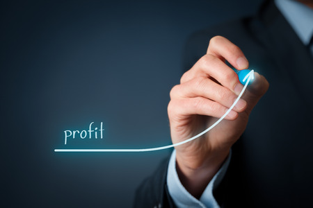 businessman: Increase profit concept. Businessman plan (predict) profit growth represented by graph. Stock Photo