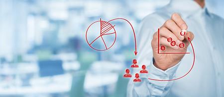 마케팅 전략 - 세분화, 타겟팅 및 위치. 마케팅 전략 과정, 배경 사무실, 넓은 배너 컴포지션의 시각화.