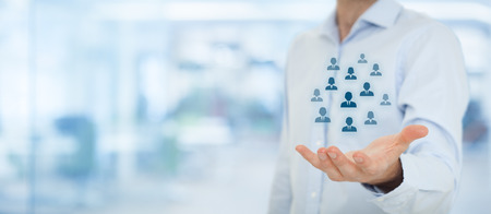 Human resources pool, customer care, care for employees, labor union, life insurance, employment agency and marketing segmentation concepts. Gesture of businessman or personnel and icons representing group of people. Wide banner composition, office in bac