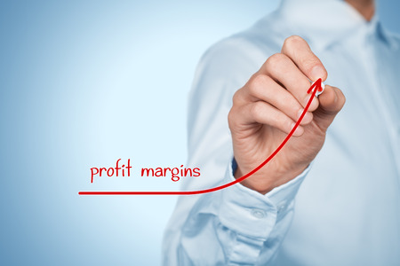 Increase profit margins concept. Businessman plan (predict) profit margins growth represented by graph.