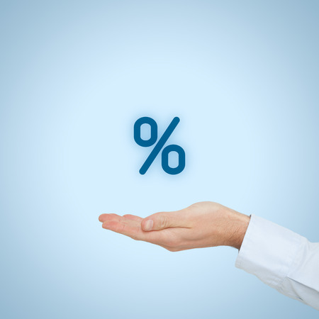 Discount and commission concept represented by percentage sign.